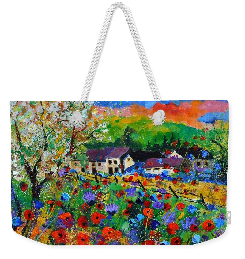 Poppies Weekender Tote Bag featuring the painting Poppies In Sorinnes by Pol Ledent