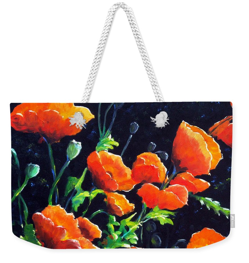 Pavot Weekender Tote Bag featuring the painting Poppies In The Light by Richard T Pranke