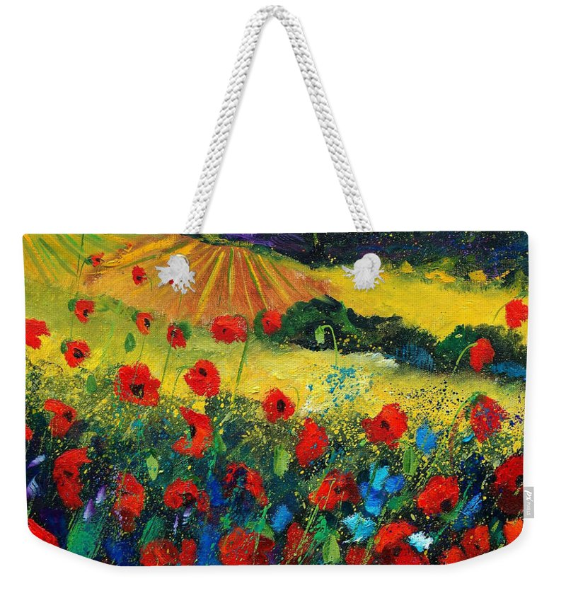 Flowers Weekender Tote Bag featuring the painting Poppies In Tuscany by Pol Ledent