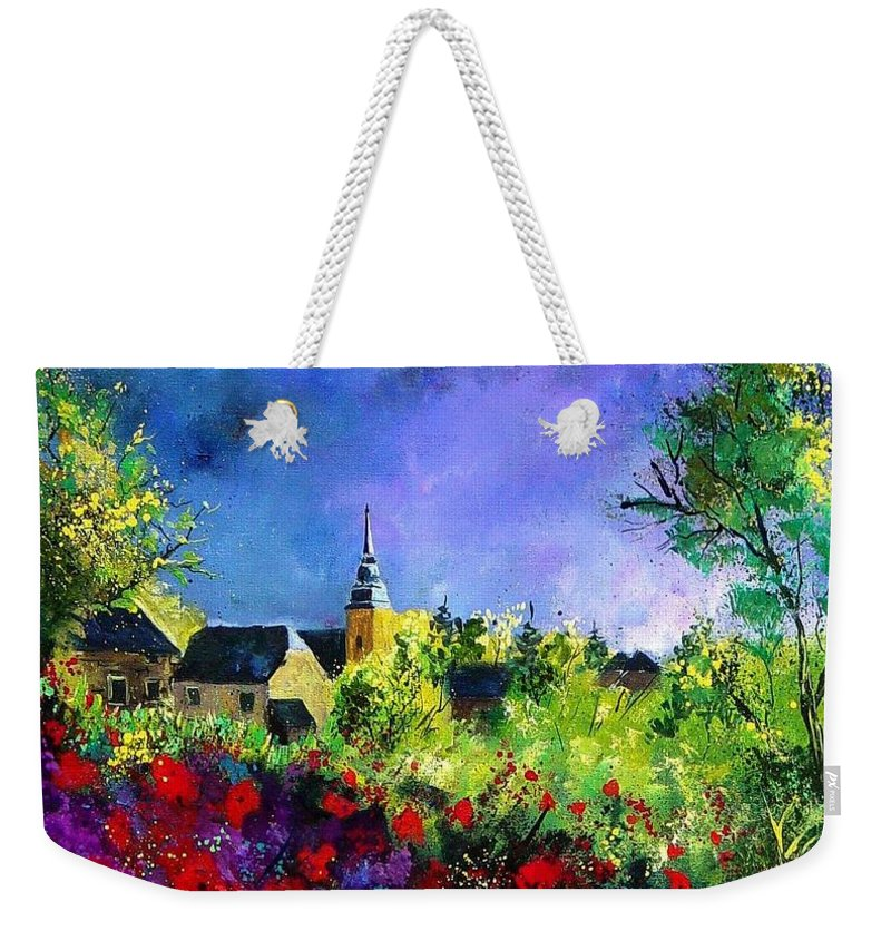 Flowers Weekender Tote Bag featuring the painting Poppies In Villers by Pol Ledent