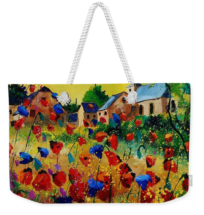 Flowers Weekender Tote Bag featuring the painting Poppies Sosoye by Pol Ledent
