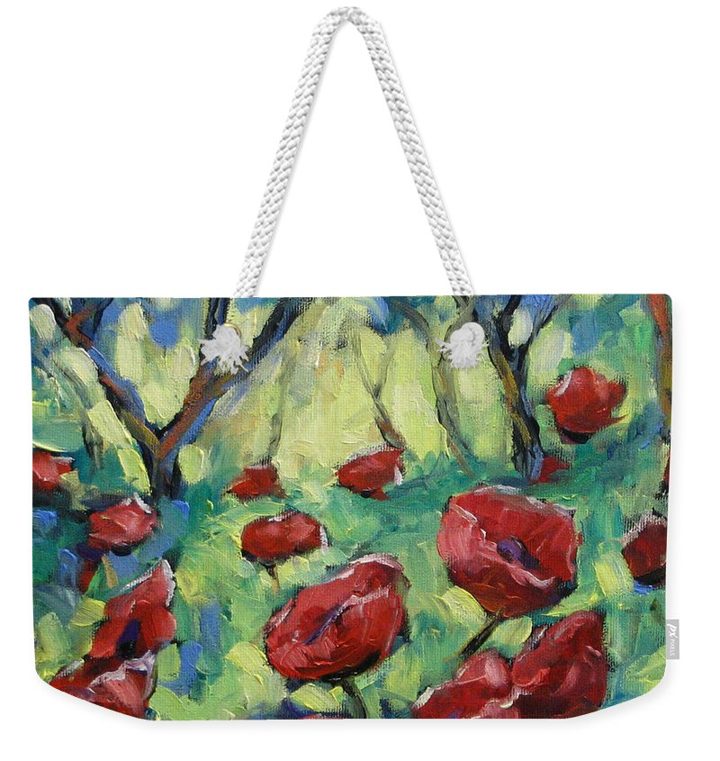 Art Weekender Tote Bag featuring the painting Poppies Through The Forest by Richard T Pranke