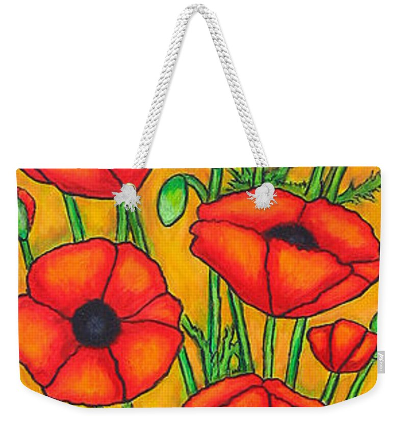 Poppies Weekender Tote Bag featuring the painting Poppies Under The Tuscan Sun by Lisa Lorenz