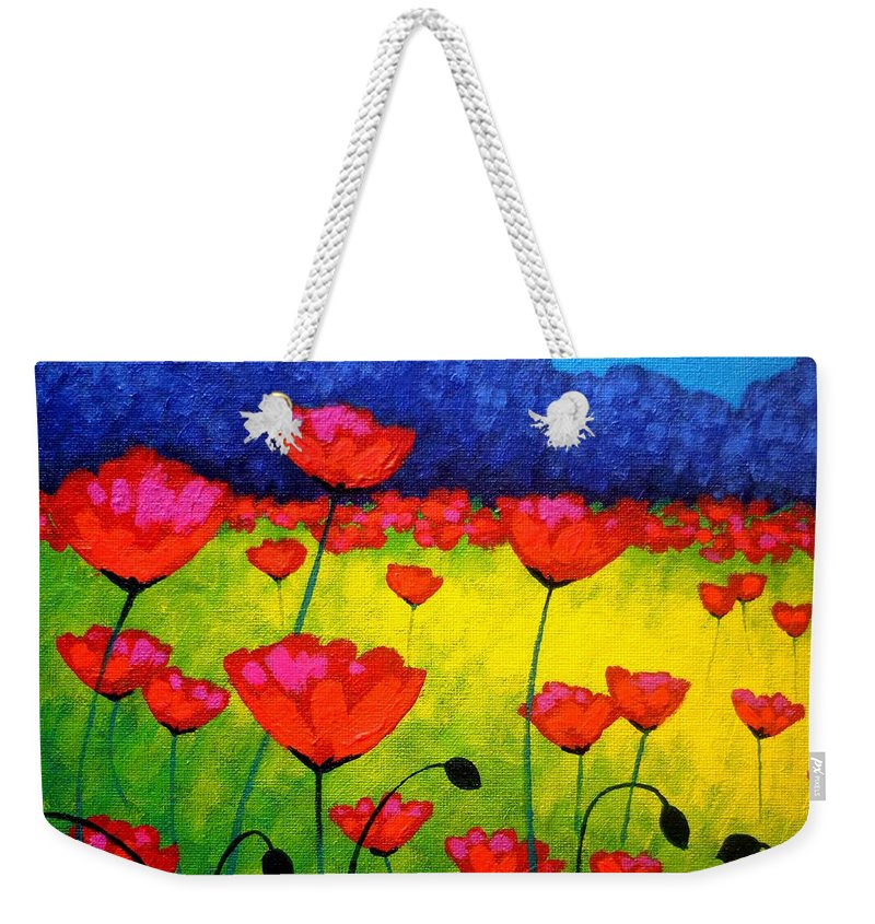 Acrylic Weekender Tote Bag featuring the painting Poppy Cluster by John Nolan