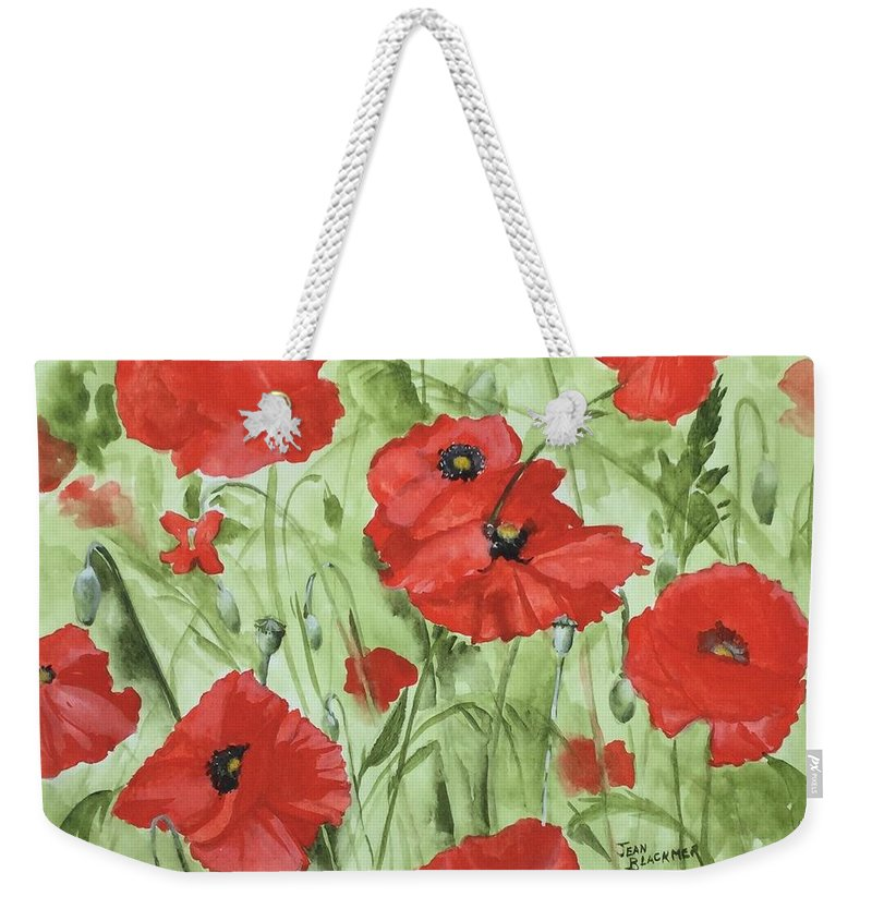 Red Weekender Tote Bag featuring the painting Poppy Field 1 by Jean Blackmer