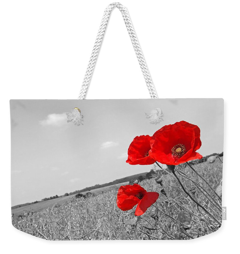 Poppy Field Weekender Tote Bag featuring the photograph Poppy Fields 2 Black And White by Gill Billington