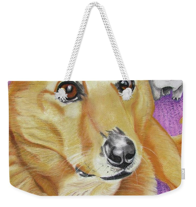 Dog Painting Weekender Tote Bag featuring the painting Poppy by Michelle Hayden-Marsan