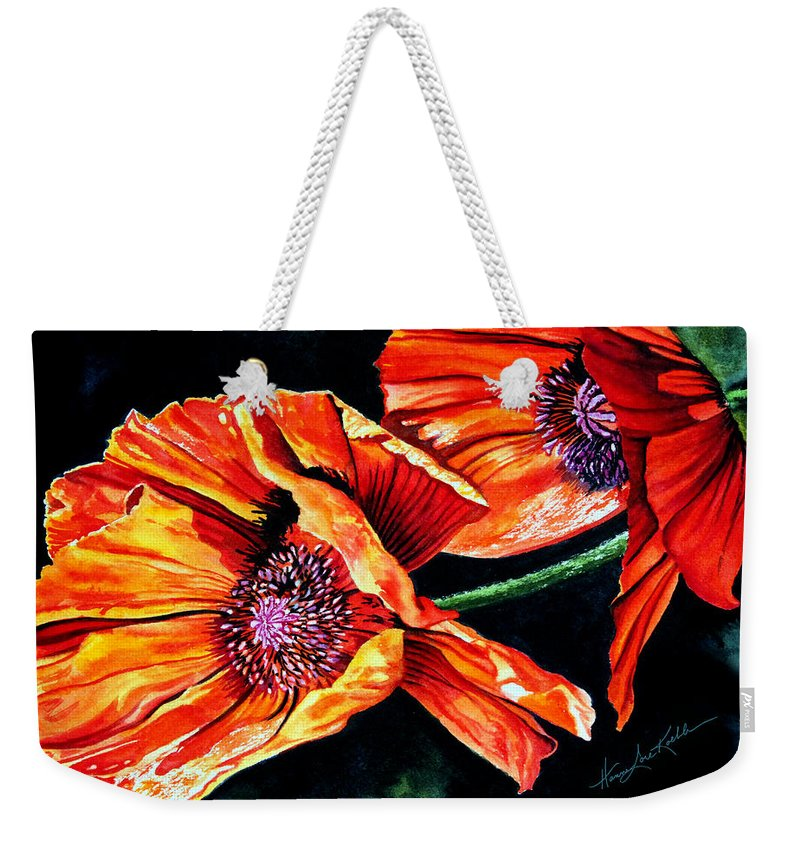Garden Art Weekender Tote Bag featuring the painting Poppy Passion by Hanne Lore Koehler