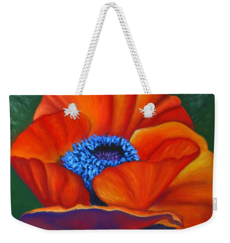Red Flower Weekender Tote Bag featuring the painting Poppy Pleasure by Minaz Jantz