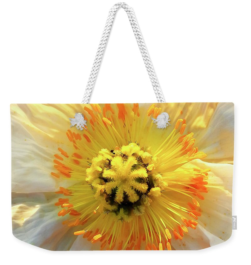 Poppy Weekender Tote Bag featuring the photograph Poppy by Soroush Mostafanejad