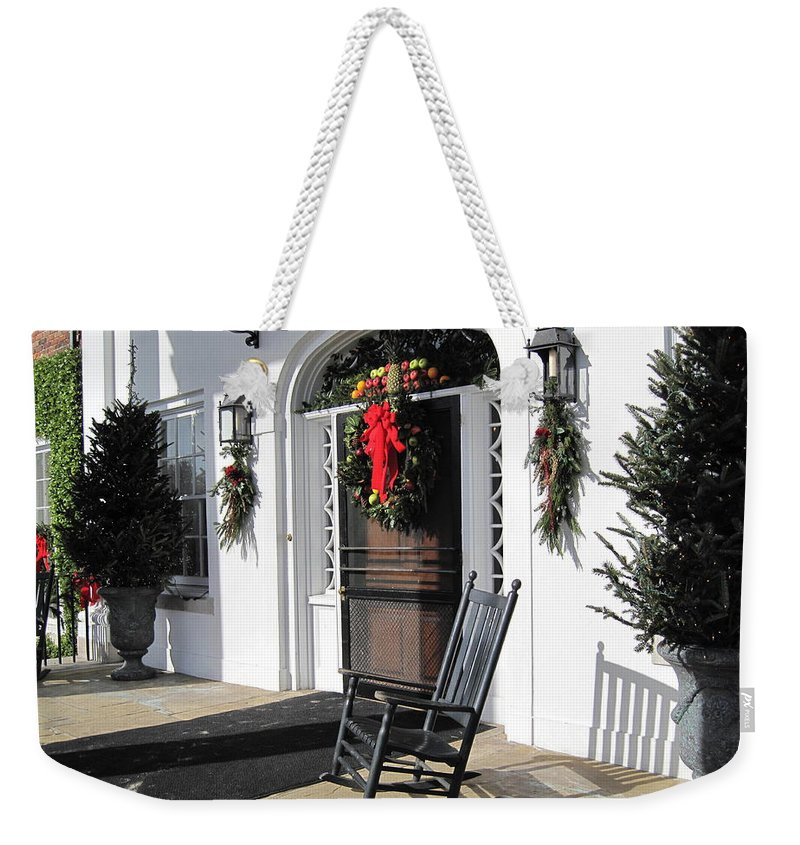 Photography Weekender Tote Bag featuring the photograph Porch At Boone Hall Plantation Charleston Sc by Susanne Van Hulst