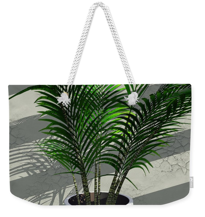 Palms Weekender Tote Bag featuring the digital art Porch Plant by Richard Rizzo