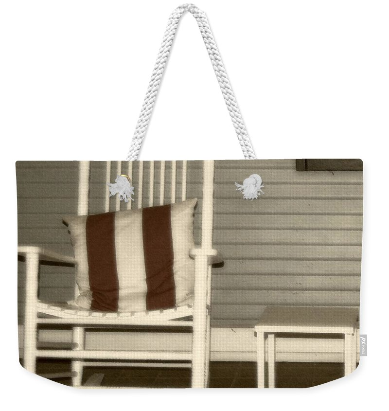 Rocking Chair Weekender Tote Bag featuring the photograph Porch Rocker by Debbi Granruth
