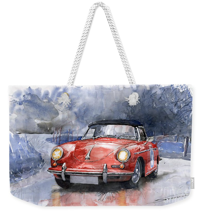 Auto Weekender Tote Bag featuring the painting Porsche 356 B Roadster by Yuriy Shevchuk