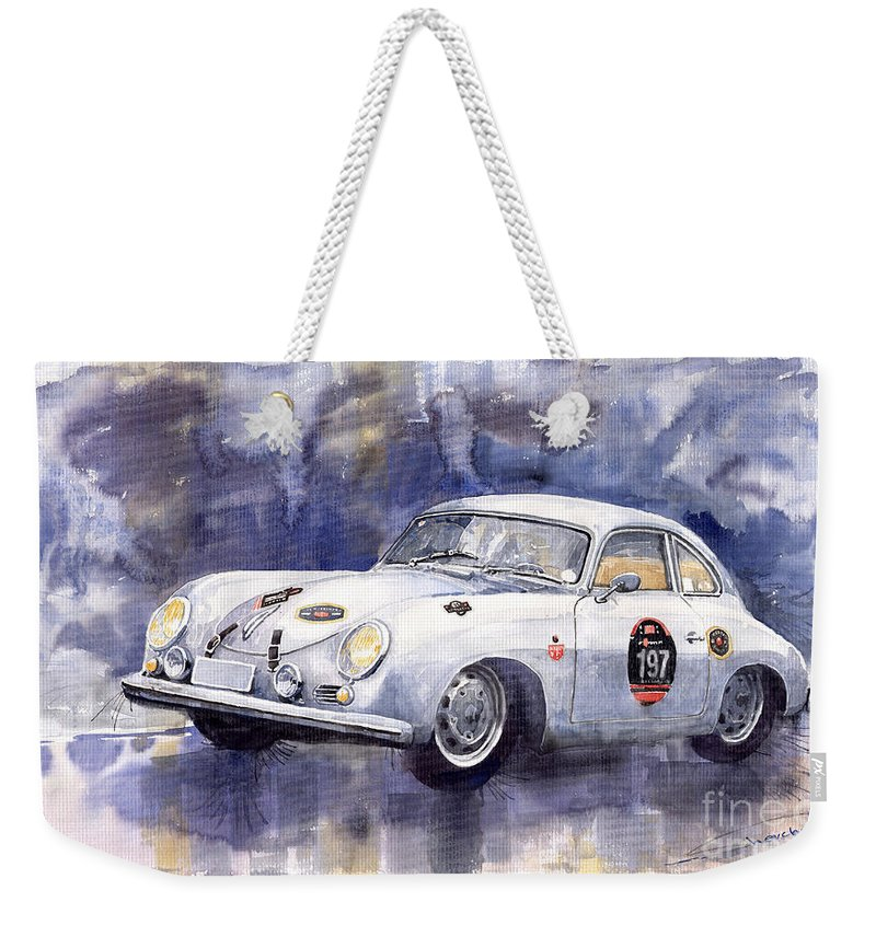 Watercolour Weekender Tote Bag featuring the painting Porsche 356 Coupe by Yuriy Shevchuk