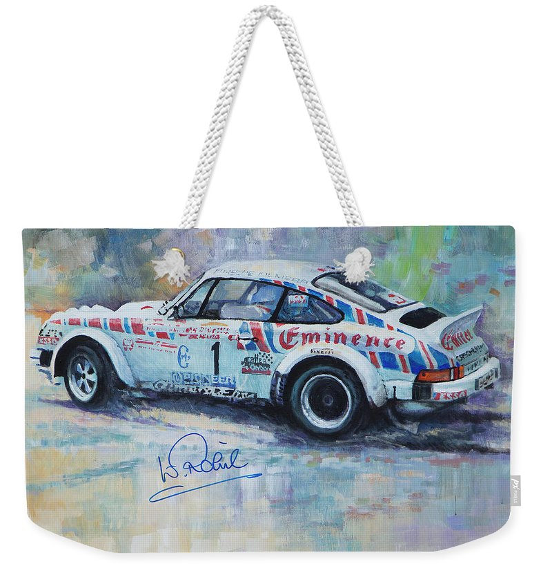 Acrilic On Canvas Weekender Tote Bag featuring the painting Porsche 911 Sc Rallye Sanremo 1981 by Yuriy Shevchuk