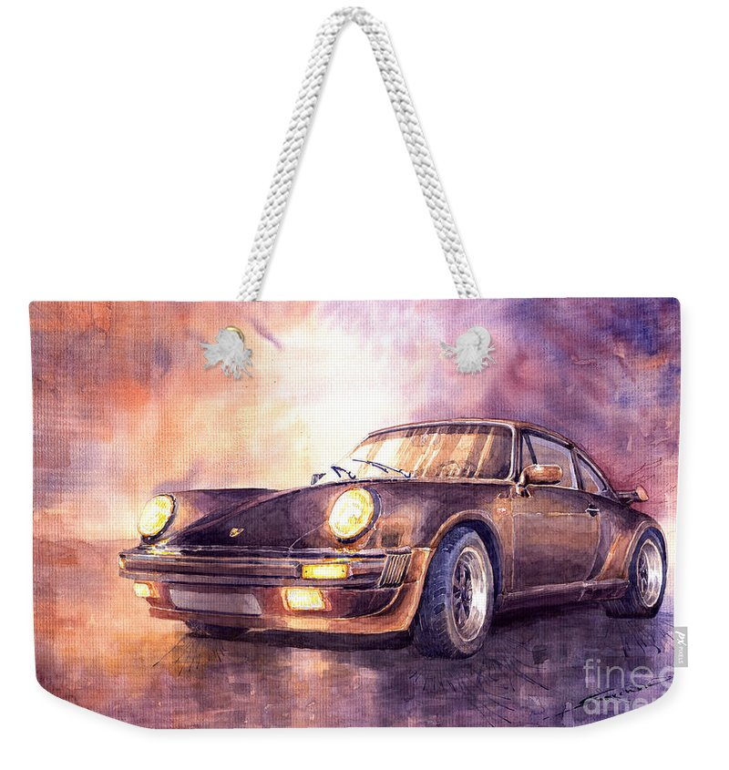Auto Weekender Tote Bag featuring the painting Porsche 911 Turbo 1979 by Yuriy Shevchuk