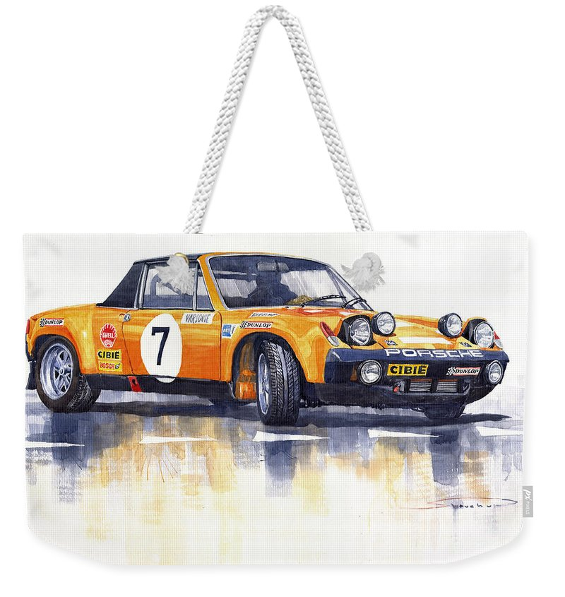 Watercolour Weekender Tote Bag featuring the painting Porsche 914-6 Gt Rally by Yuriy Shevchuk