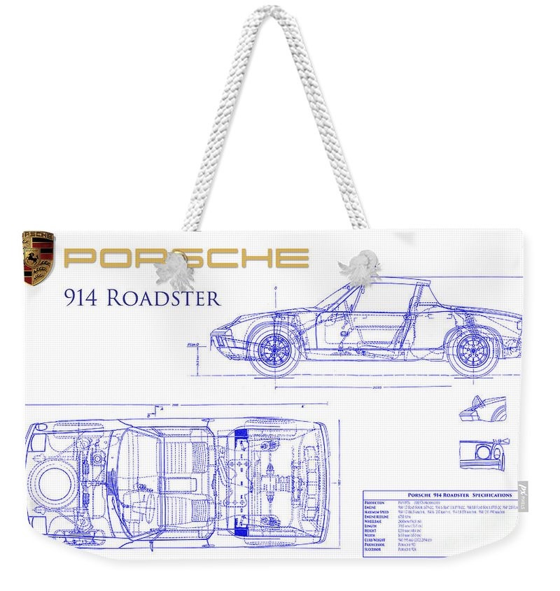 Porsche 914 Blueprint Weekender Tote Bag featuring the photograph Porsche 914 Blueprint by Jon Neidert
