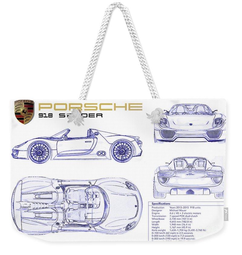 Porsche 918 Spyder Blueprint Weekender Tote Bag