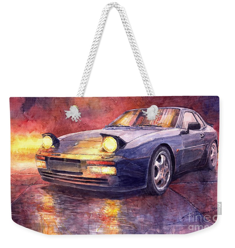 Auto Weekender Tote Bag featuring the painting Porsche 944 Turbo by Yuriy Shevchuk