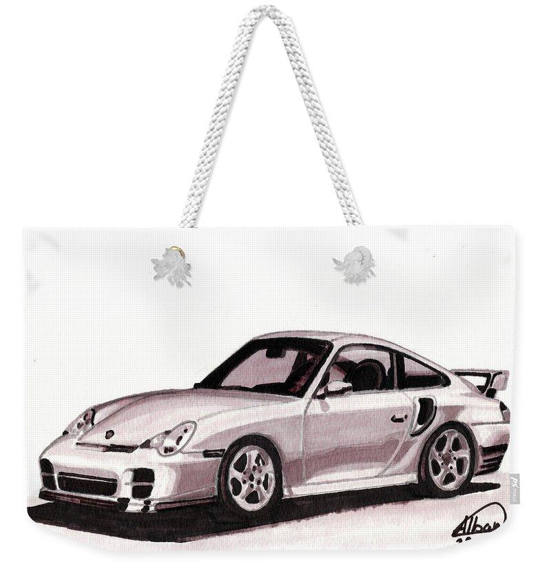 Car Weekender Tote Bag featuring the mixed media Porsche by Alban Dizdari