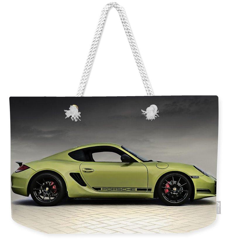 Porsche Weekender Tote Bag featuring the digital art Porsche Cayman R by Douglas Pittman