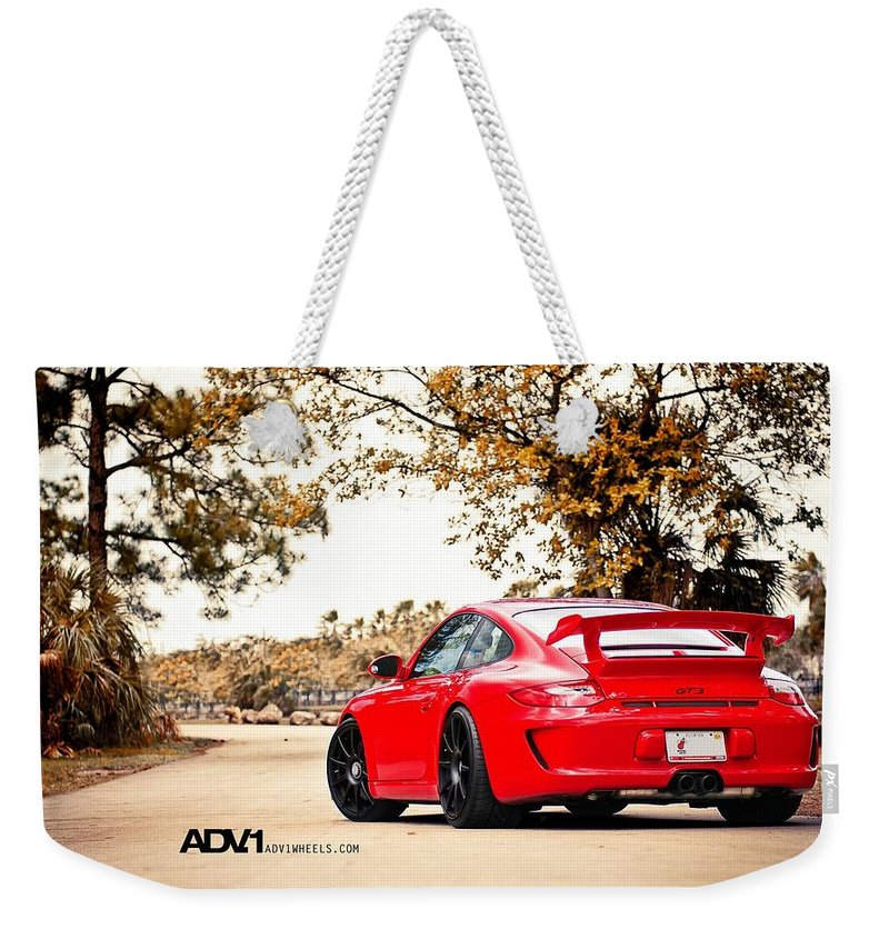 Porsche Gt Centerlock Adv 3 Weekender Tote Bag featuring the digital art Porsche Gt3 Centerlock Adv1 3 by Mery Moon
