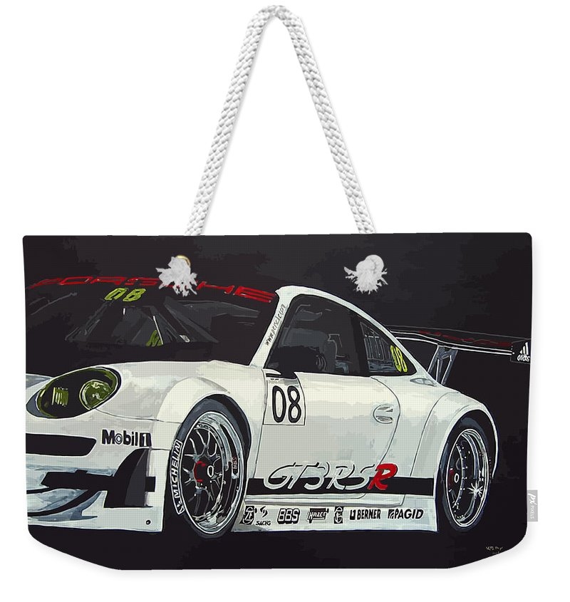 Car Weekender Tote Bag featuring the painting Porsche Gt3 Rsr by Richard Le Page