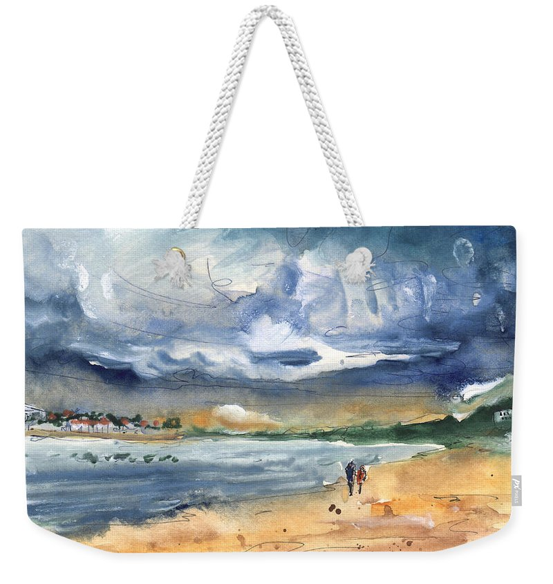 Travel Weekender Tote Bag featuring the painting Port Alcudia Beach 03 by Miki De Goodaboom