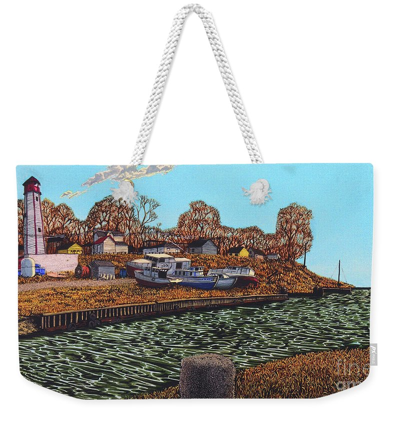 Port Burwell Weekender Tote Bag featuring the painting Port Burwell, Ontario by Robert Davies