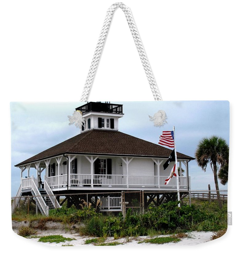 Florida Weekender Tote Bag featuring the photograph Port Charlotte Harbor Lighthouse by Ian MacDonald