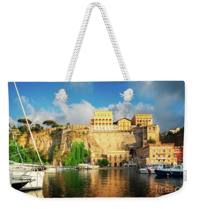 Sorrento Weekender Tote Bag featuring the photograph Port Of Sorrento, Southern Italy by Anastasy Yarmolovich