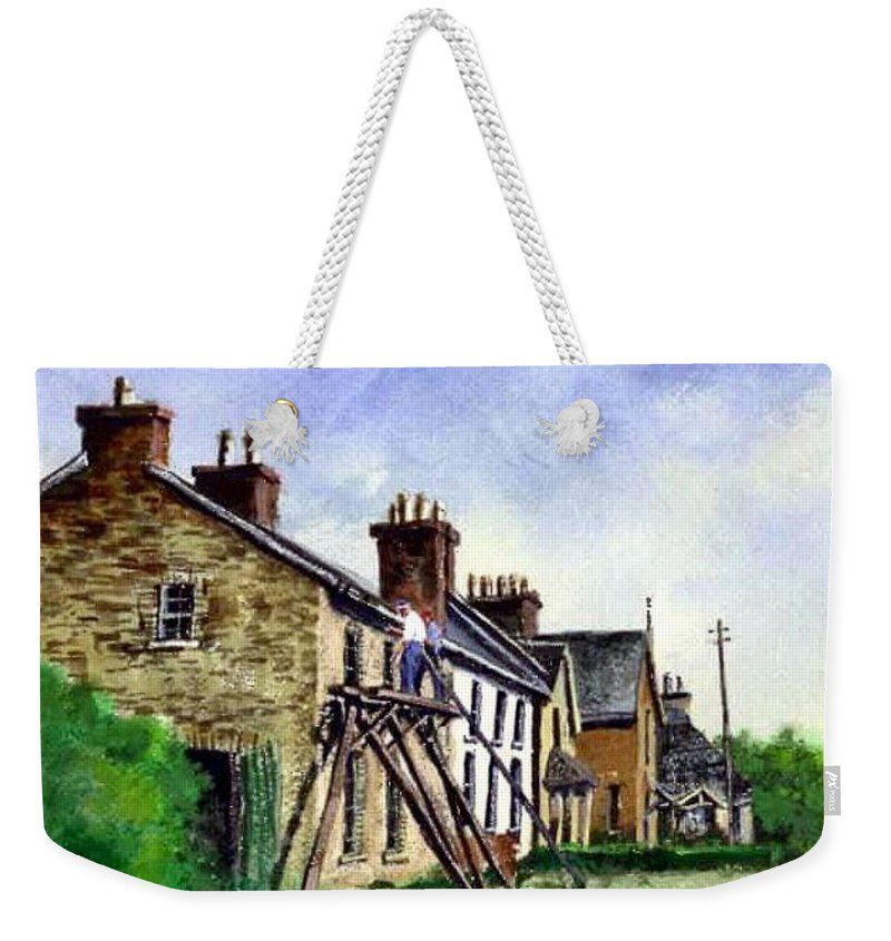 Water Color Weekender Tote Bag featuring the painting Port Rush Gutter Repair by Jim Gola