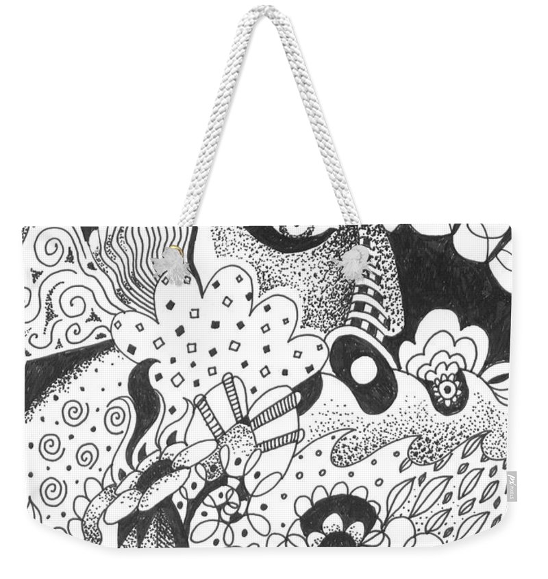 Awakening Weekender Tote Bag featuring the drawing Portals by Helena Tiainen