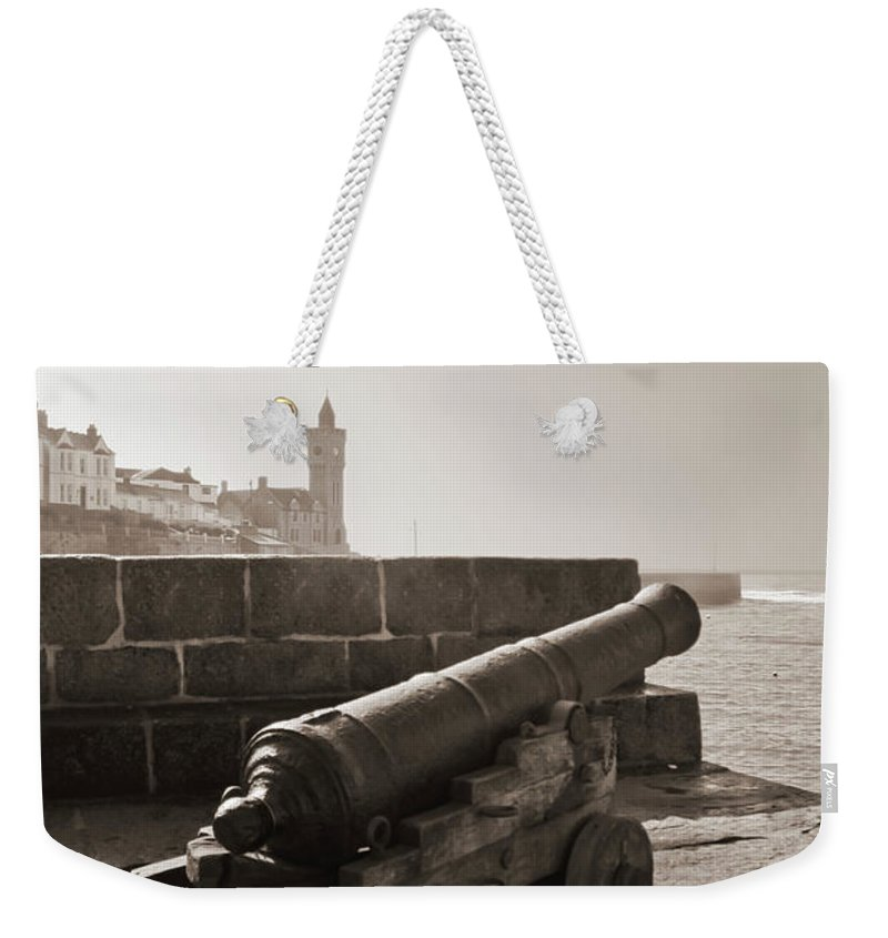 Cornwall Weekender Tote Bag featuring the photograph Porthleven Cannon Sepia by Terri Waters