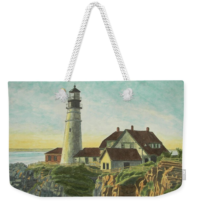 Lighthouse Weekender Tote Bag featuring the painting Portland Head Light At Sunrise by Dominic White
