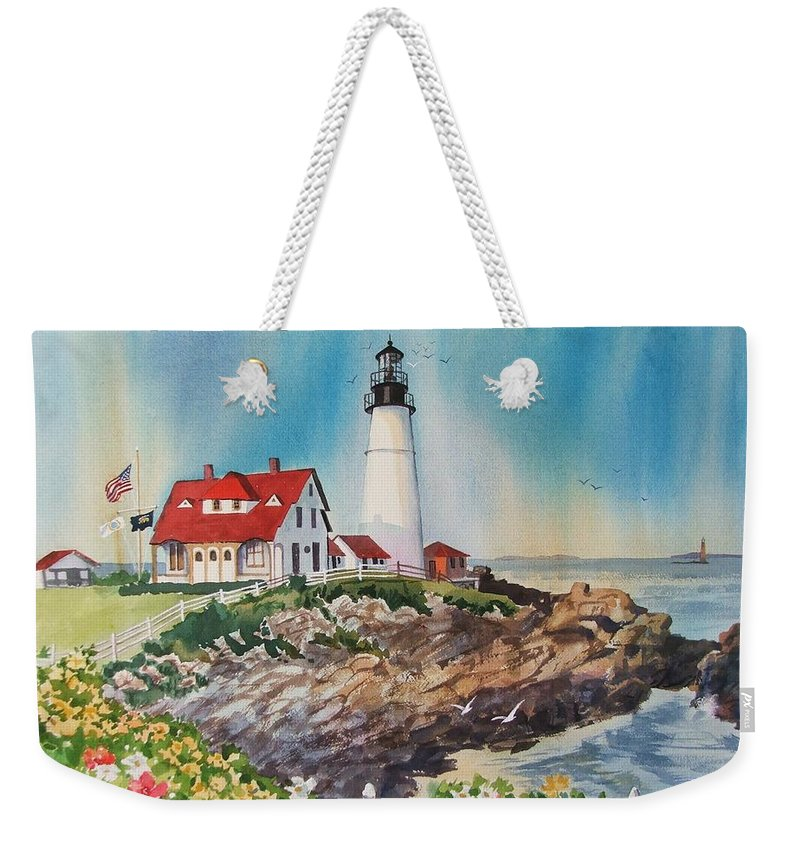 Portland Me Lighthouse Weekender Tote Bag featuring the painting Portland Head Light by Dianna Willman