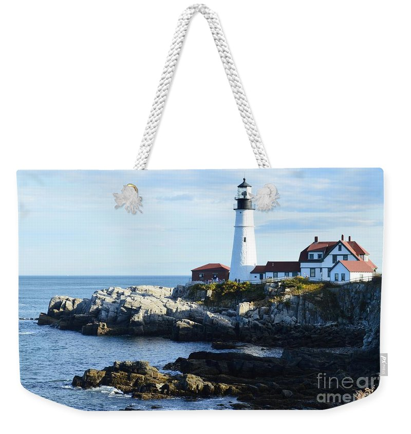 Maine Weekender Tote Bag featuring the photograph Portland Head Light by Michelle Welles
