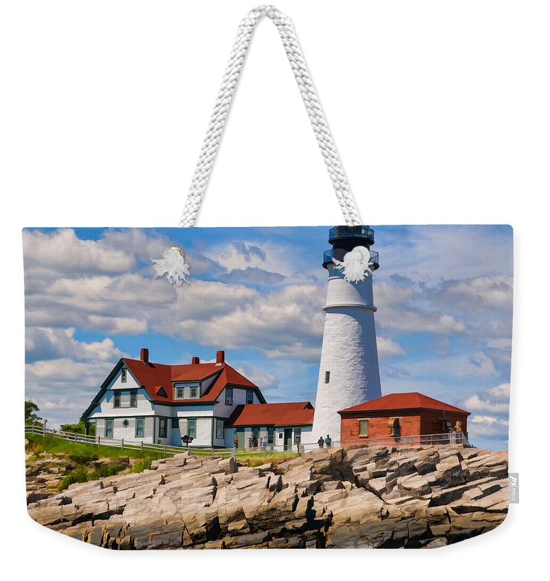 Stamp Treks Weekender Tote Bag featuring the photograph Portland Head Lighthouse by Dave Thompsen