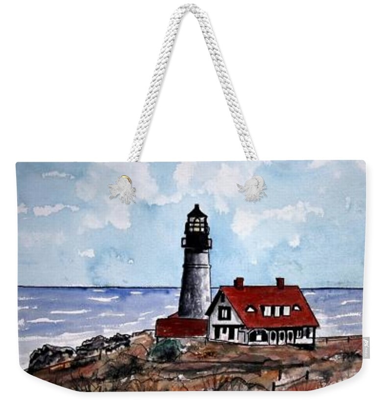 Lighthouse Paintings Weekender Tote Bag featuring the painting Portland Head Lighthouse by Derek Mccrea