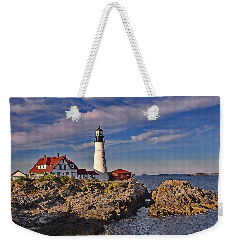 Landscape Weekender Tote Bag featuring the photograph Portland Lighthouse by Mary Lisa Photography