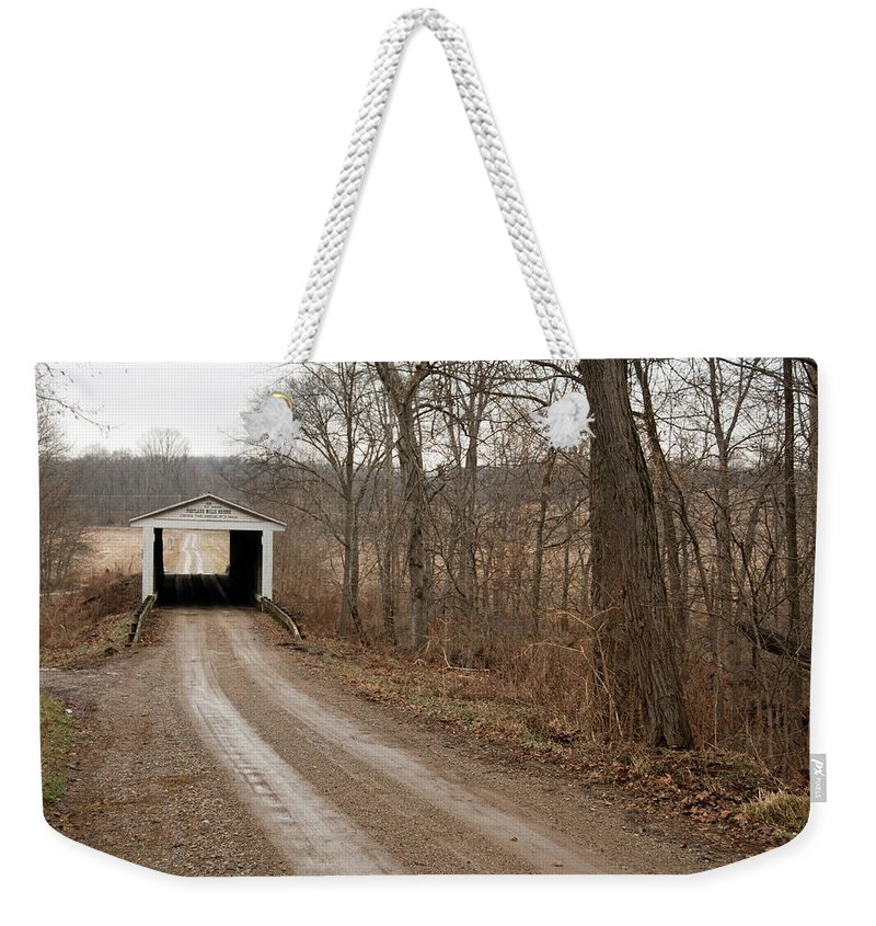Bridge Weekender Tote Bag featuring the photograph Portland Mills Covered Bridge by David Arment