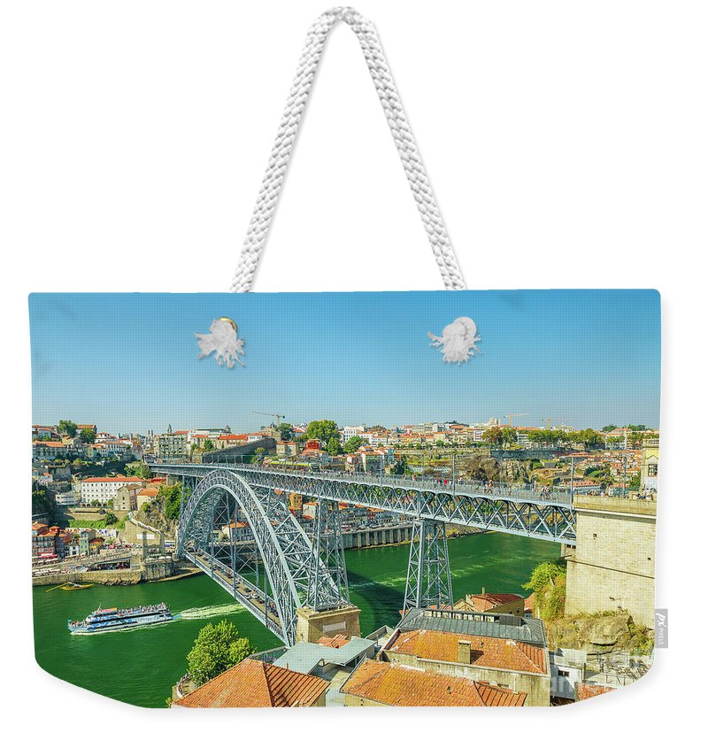 Oporto Weekender Tote Bag featuring the photograph Porto Bridge Skyline by Benny Marty