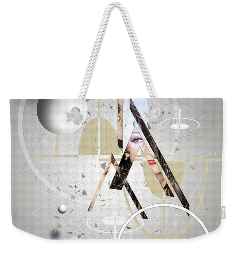 Abstract Weekender Tote Bag featuring the digital art Portrait Abstract by Svetlana Sewell