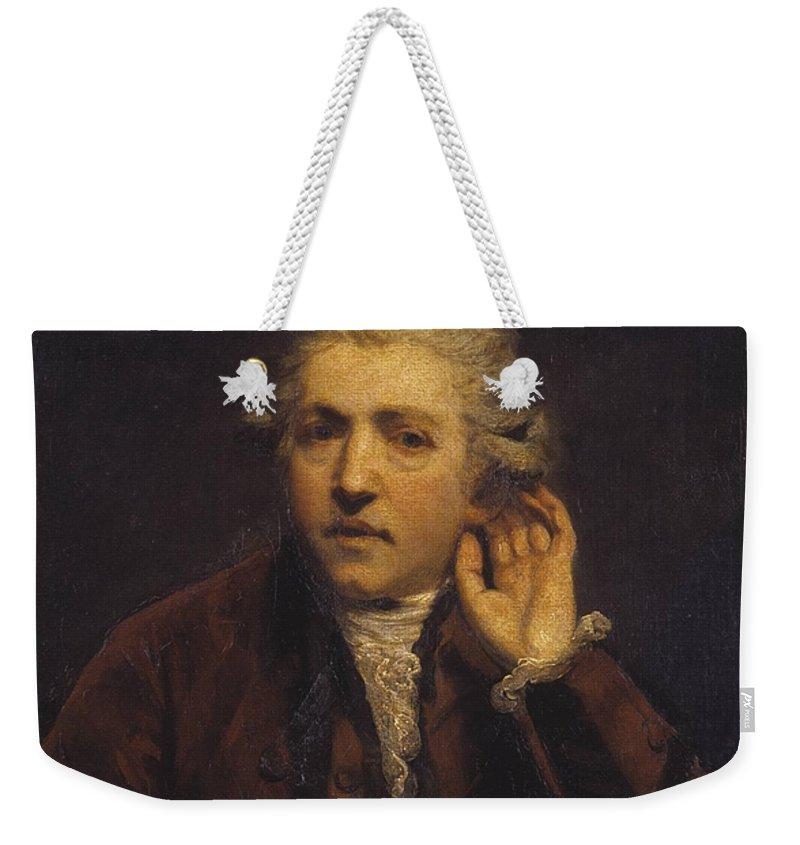 Sir Joshua Reynolds 1723–1792  Self-portrait As A Deaf Man Weekender Tote Bag featuring the painting Portrait As A Deaf Man by Sir Joshua Reynolds