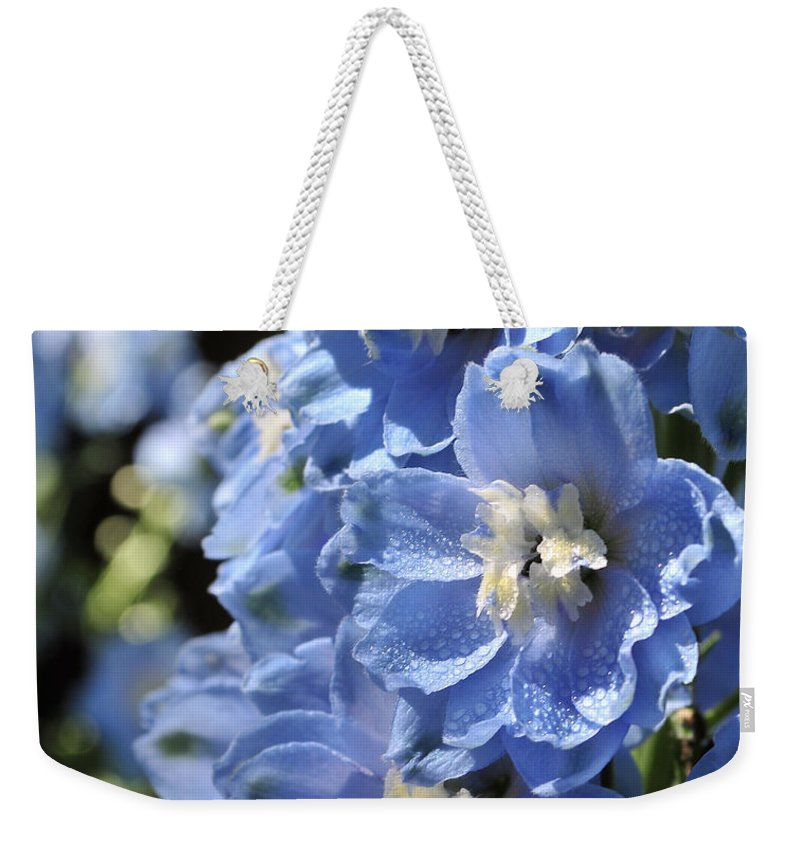 Flower Weekender Tote Bag featuring the photograph Portrait Blue Delphinium 114 by Terri Winkler