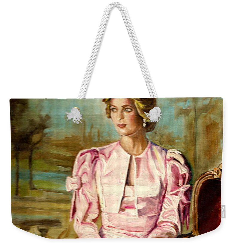 Commissioned Art Weekender Tote Bag featuring the painting Portrait Commissions By Portrait Artist Carole Spandau by Carole Spandau