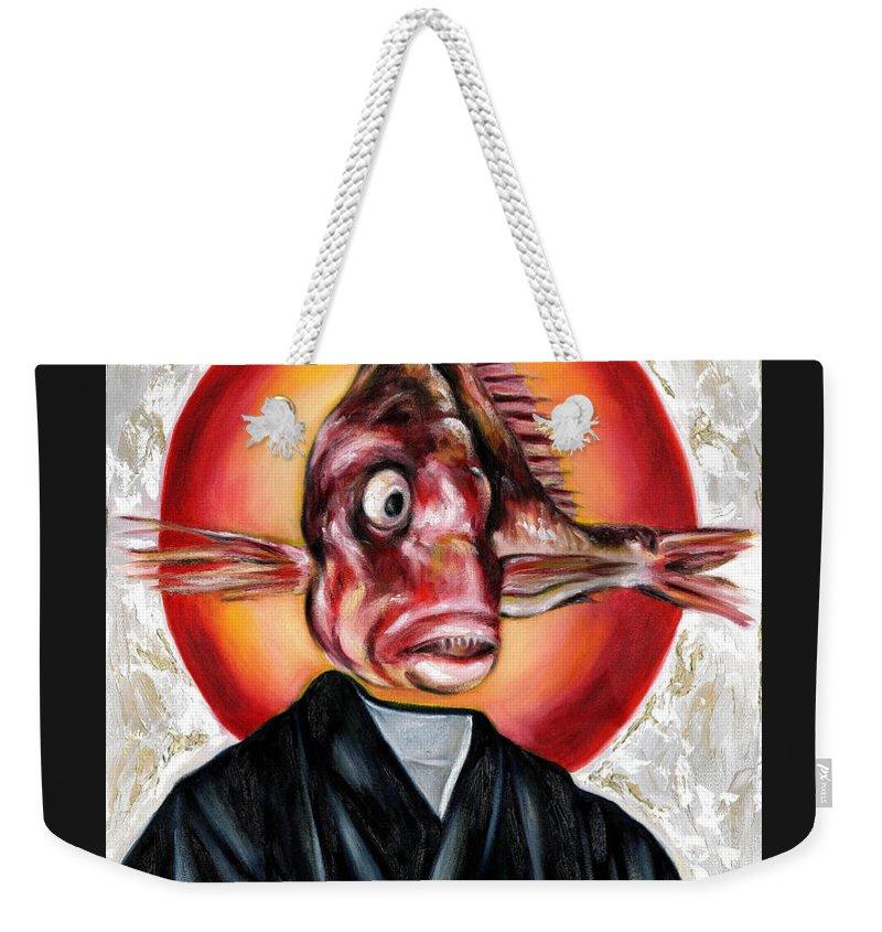 Japanese Weekender Tote Bag featuring the painting Portrait by Hiroko Sakai