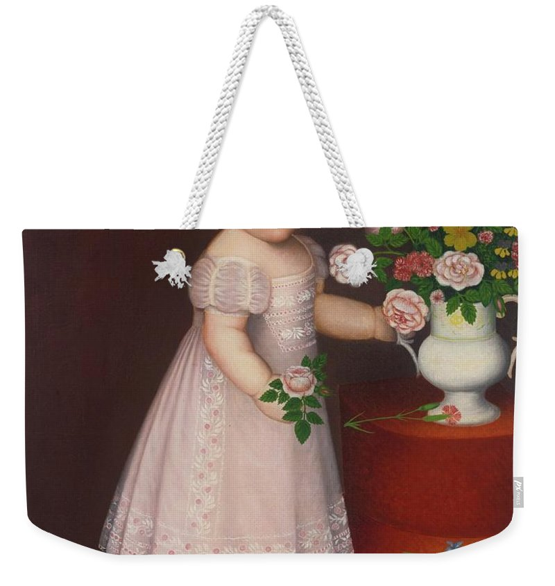 Zedekiah Belknap () Portrait Of A Blond-haired Child In Lace-embroidered Pink Dress With A Bouquet Of Flowers Weekender Tote Bag featuring the painting Portrait Of A Blond by Zedekiah Belknap